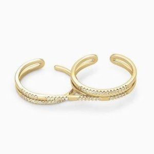 Stella & Dot Gold Pave Duo Ring